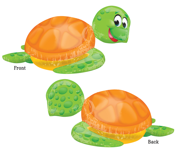 """31"""" SuperShape Silly Sea Turtle Balloon Packaged"""