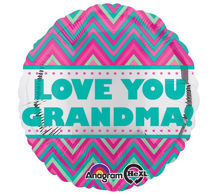 "18"" Love You Grandma Chevron Balloon"