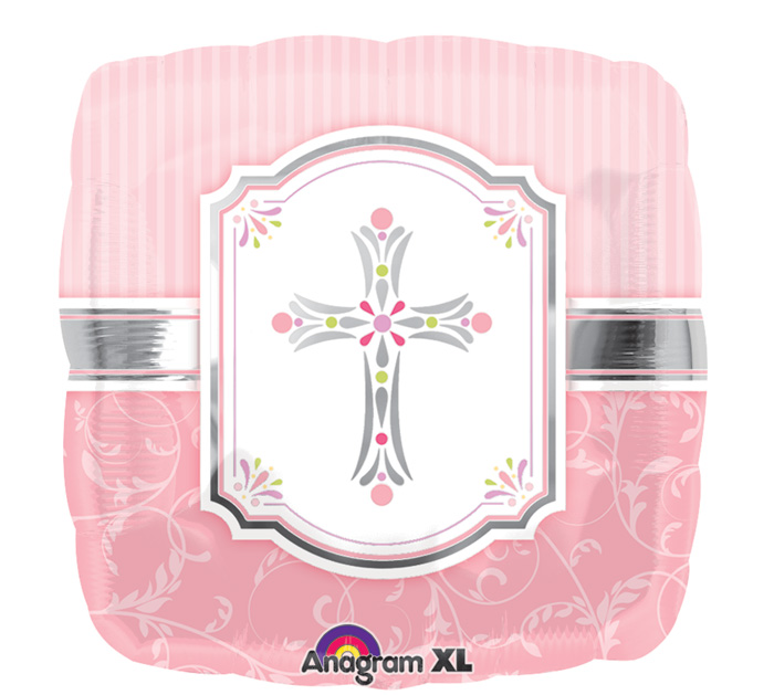 "18"" Communion Blessings Pink Mylar Balloon"