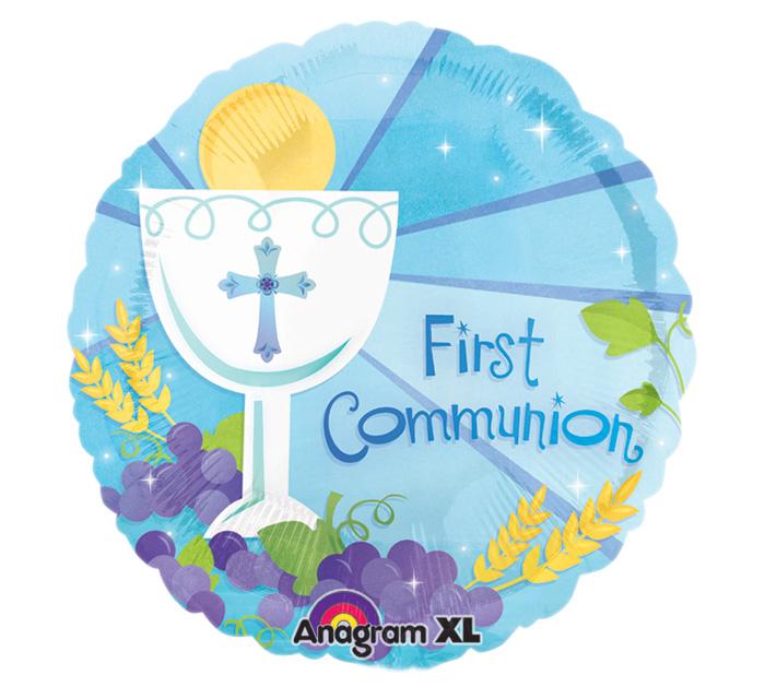 "18"" 1st Communion Blue Mylar Balloon"