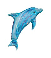 "39"" Jewel Blue See-Thru  Dolphin Plastic Balloon"