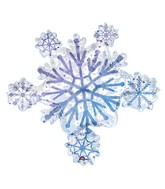 """32"""" Holographic   Prismatic Snowflake Cluster Balloon"""