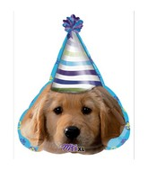 """18"""" Party Pups Party Face Mylar Balloon"""