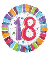 """18"""" Holographic Radiant Birthday 18 Balloon Packaged"""