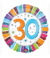 """18"""" Holographic Radiant Birthday 30 Balloon Packaged"""