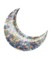 """26"""" Holographic Silver Fireworks Crescent Moon Balloon"""