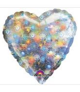 "32"" Large Balloon Holo Fireworks Heart"
