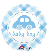 "32"" Baby Boy Plaid Car Jumbo Balloon"