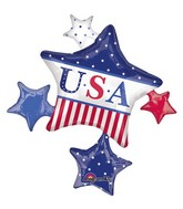 """35"""" SuperShape American Classic Star Cluster Balloon"""