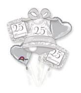 Silver Scroll 25th Anniversary Balloon Bouquet