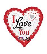 "28"" Love You Silver Hearts Jumbo Balloon"
