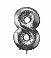 "33"" SuperShape 8 Silver Balloon Packaged"