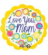 "18"" Petite Shape Love You Mom Yellow Balloon"