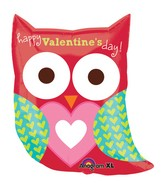 "27"" SuperShape Happy Valentine's Day Owl Balloon"