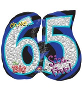 """27"""" Holographic Oh NO! It's My Birthday 65 Balloon Packaged"""