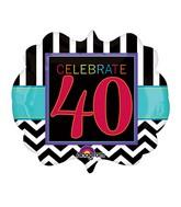 "25"" SuperShape Birthday Celebration 40 Balloon Packaged"