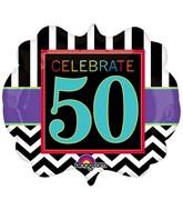 "25"" SuperShape Birthday Celebration 50 Balloon Packaged"