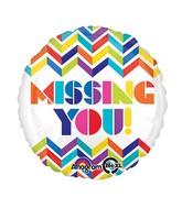 "18"" Multi Chevron Missing You! Balloon"