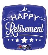 "18"" Happy Retirement Blue Square Balloon"