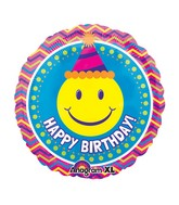 "21"" Smiley Face Chevron Birthday Mylar Balloon"