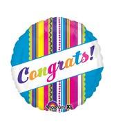 """21"""" ColorBlast Congrats! Multi Design Stripe Balloon"""