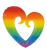 """32"""" SuperShape Rainbow Open Heart Balloon Packaged"""