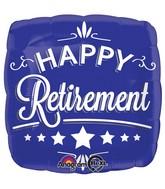 "28"" Happy Retirement Blue Square Balloon"