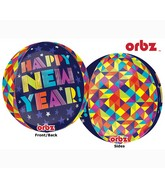 """16"""" Orbz Geometric New Year Balloon Packaged"""