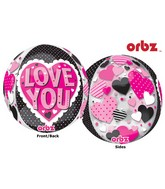 "16"" Orbz Multi-Film Love You Black & Pink Balloon Packaged"