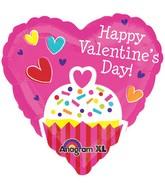 "21"" ColorBlast Happy Valentines Day Cupcake Balloon"