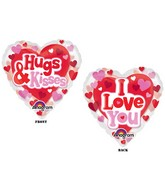"26"" See-Thru Hugs, Kisses & Love Balloon Packaged"