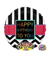"28"" Singing Chevron Happy Birthday To You Balloon Packaged"
