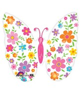 "25"" SuperShape Floral Butterfly Balloon"