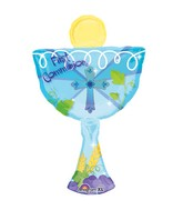 "31"" SuperShape 1st Communion Blue Chalice Balloon"