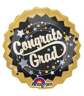 Jumbo Holographic Grad Black, Gold, Silver Balloon