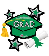 "31"" SuperShape Congrats Grad Green Cluster Balloon"