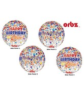 "16"" Orbz Clear Happy Birthday Clear Confetti Packaged"