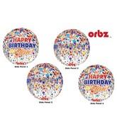 "16"" Orbz Clear Happy Birthday Clear Confetti Packaged"