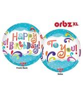 "16"" Orbz Happy Birthday Splashy Sparkle Packaged"