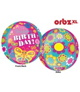 """16"""" Orbz Happy Birthday Cute Butterfly Balloon Packaged"""