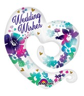"""31"""" SuperShape Watercolor Wedding Wishes Packaged"""