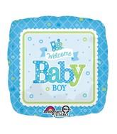 "28"" Jumbo Welcome Baby Boy Train Balloon Packaged"