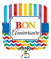 "18"" Bon Anniversaire Stripe & Chevron (French)"