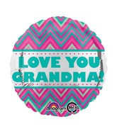 "18"" Love You Grandma Chevron Balloon"