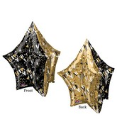 "34"" UltraShape New Years Gold & Black Star Balloon"