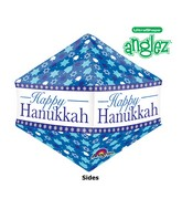 "21"" UltraShape Anglez Happy Hanukkah Balloon Packaged"