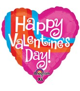 "21"" ColorBlast Happy Valentines Day Graphic Stripe Balloon"