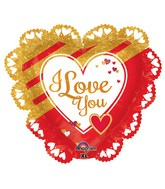 """23"""" SuperShape Intricates Gold & Red Love Balloon"""