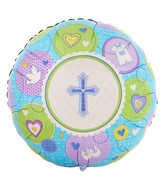 "18"" Sweet Christening Boy Mylar Balloon"
