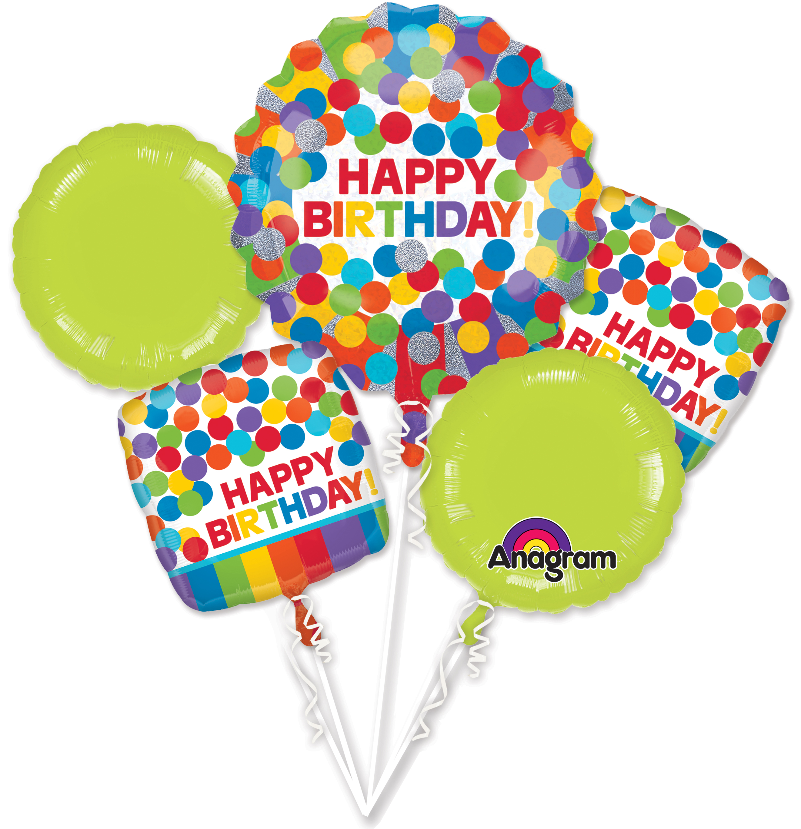 Bouquet Primary Rainbow Birthday Balloon Packaged